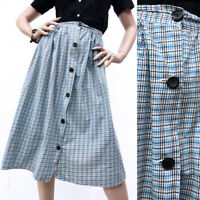 S/M Vintage 1940s Separates Skirt Blue Plaid Button Up Cotton Knee Length 40s