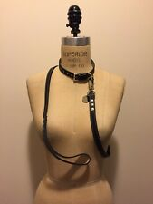 Hennessy & Sons Leather Dog Collar & Leash, Black White Stitching New