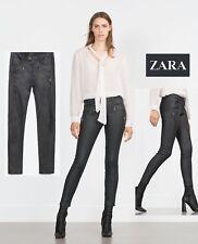NWT Sz. 10 ZARA Denim Womens Moto Biker Black Coated Skinny Fit Jeans Pants