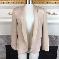 New TRUTH & PRIDE Womens L Light Pink 3/4 Sleeve 100% Silk Open Blazer Jacket