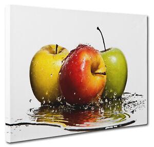 Apple Fruit Splash Kitchen Canvas Print Wall Art CANVAS PICTURE PRINT