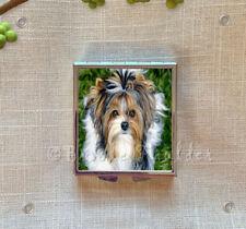Biewer Terrier puppy pill box compact w/ mirror dog art travel medication case 4