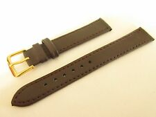 BROWN  LEATHER 16MM WATCH STRAP BAND GOLD BUCKLE