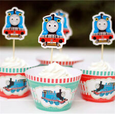 THOMAS TRAIN CUPCAKE TOPPERS & WRAPPERS 24 PCS BOYS PARTY  BIRTHDAY AU