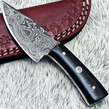 """NEW CUSTOM HANDMADE DAMASCUS 5.25"""" MINI HUNTING KNIFE BULL HORN HANDLE - UT-3671"""