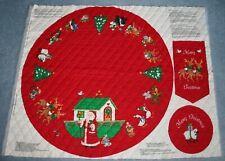 Santa Christmas Ark Quilted Fabric Tree Skirt Ornament Banner Animal Craft Panel