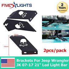 """21""""-22"""" LED Light Bar Skull Hood Mounting Brackets For Jeep Wrangler JK 07-17 FS"""