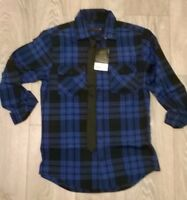 IDEAL XMAS GIFT BURTONS Mens black blue check shirt Size small  NEW