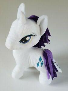 "Rarity Plush Stuffed My Little Pony Unicorn White/ Blue Diamonds 13"" Purple Hair"