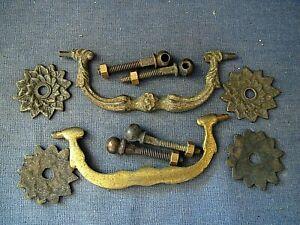 Brass decorative swan neck furniture handles   x  2