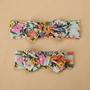Mummy and Baby Toddler Family Matching Bow Floral Green Headbands Hairbands Set