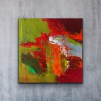 "6x6"" Small Abstract Artwork Modern Painting Gifts red orange lime green Trust 1"