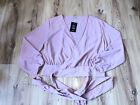 Fashionnova Pink V Neck Wrap Blouse Front Tie Wrap Around Shirt Blouse XL Stain