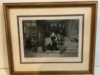"""L.J.Pott """"Mary Queen of Scots Led to Execution"""" Etching Print, Framed, 11"""" x 8"""""""