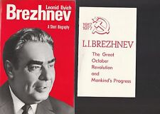 "LEONID BREZHNEV 3 1977 ITEMS-BIOGRAPHY,REVOLUTION ""PROGRESS REPORT,"" ETC."