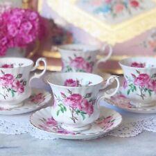 Royal Albert Rose pink rose patterned coffee cup duo