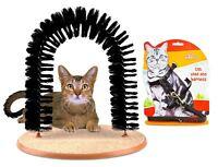 Cat Arch Bristles Kitten Self-Groomer Massager Scratcher Catnip Toy Free Harness