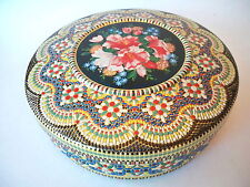 Vintage FLORAL MOSAIC STYLE TIN Round STORAGE CONTAINER Made in HOLLAND