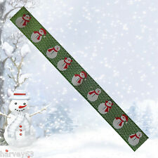 Christmas Ribbon GREEN WITH SNOWMEN~ 5 yard (4.5 Metres) 22mm Wide