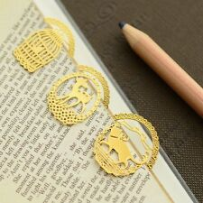 5Pc/lot Heart Key Cage Mini Reading Gold Metal-Clip Bookmarks Gift Book Mark