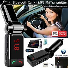 LCD Bluetooth FM Transmitter Car Kit MP3 Dual USB Charger Hands Free iOS Android