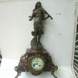 Victorian era French marble and metal clock