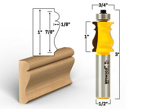 """7/8"""" Picture Frame Molding Router Bit - 1/2"""" Shank - Yonico 16116"""