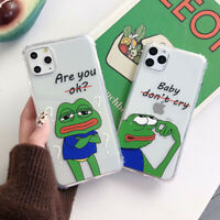 Cute Sad Frog Silicone TPU Phone Case Cover For iPhone X XS Max XR 6 7 8 Plus