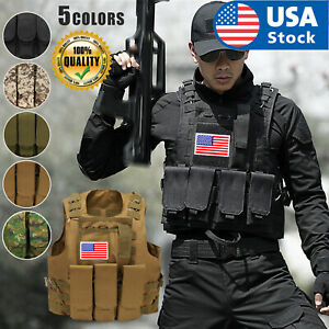 USA Tactical Air soft Paintball MOLLE Plate Carrier Combat Play Vest with Flag