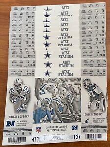 2013-14 NFL DALLAS COWBOYS PLAYOFF FOOTBALL TICKET SHEETS - LOT OF 11