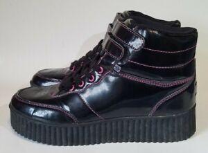 TUK Black Vegan Patent Leather High Top Creeper Platform Shoes Womens Sz 8 US