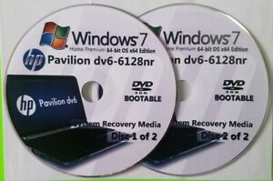 HP Pavilion dv6-6128nr Factory Recovery Media 2-Discs / Windows 7 Home 64-bit