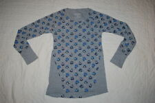 Girls L/S Shirt Gray w/ Penguins In Sweaters & Hats Waffle Knit Thermal S 6-6X
