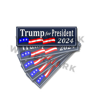 TRUMP for President 2024 MAGA Trump Stickers 5 Pack 9x3 D& BLUE