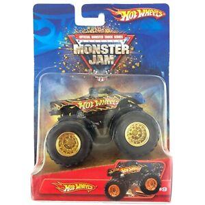 Hot Wheels Monster Jam Monster Truck Blue Flames Gold Hubs Diecast 1/64 Scale #9
