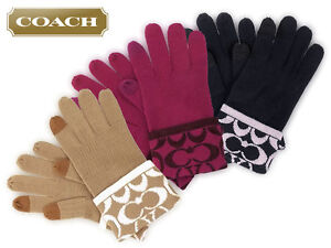 New Beautiful Designer Ladies COACH Logo Touch Wool Gloves Camel/Ivory One Size