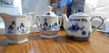 Tea set 'tea for two' teapot covered sugar bowl creamer white w/ blue flower New
