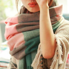 Women Winter Warm Pashmina Tassel Plaid Check Shawl Scarf Wrap Stole Scarves Hot