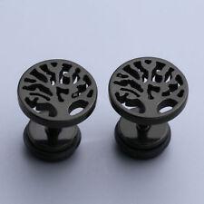 Men Women Stud Earrings Stainless Steel Cheater Fake Illusion Tunnel Plug Screw