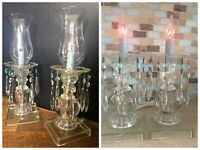 (2) Vintage Glass Table Lamp Crystals & Hurricane, Electric Vanity Boudoir Lamps