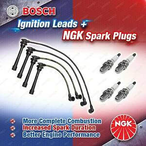 4 x NGK Spark Plugs + Bosch Ignition Leads Kit for Kia Cerato TD G4KD 2.0L 4Cyl