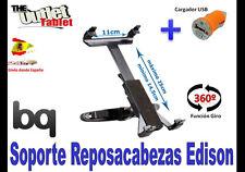 * SOPORTE REPOSACABEZAS PARA Tablet BQ EDISON 10.1 GIRATORIA + CARGADOR USB