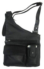 Men Lady Black Leather Messenger Bag Cross Body Messenger Shoulder Handbag NR