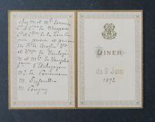 Menu Diner 9 juin 1892 Prince de BROGLIE Comte de MIREPOIX noblesse