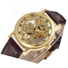 GuTe Dress Golden Ladies Steampunk Mechanical Wristwatch Skeleton Hand-wind Dark