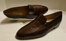 Raphael De La Forre Brown Genuine Reptile Leather Slip On Loafers Sz 10 * Spain