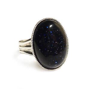 Blue Goldstone Gemstone Ring Semi Precious Oval Adjustable 18 x 13 mm Silver