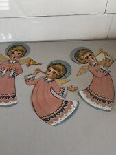 Lot 3 Mid-Century Vintage Chrisymas Choir Angels Singing 10�x17� Paper Cutouts