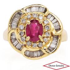 Estate Diamond Ruby 14K Gold Floral Halo Cocktail Ring 5.5 Grams NR