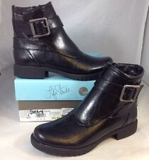 NEW LIFE STRIDE Ankle Boots Size 6 1/2 Black Faux Leather GreyPlaid Bootie Shoes